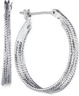 Nine West Silver-Tone Hammered Hoop Earrings