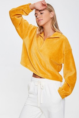 Forever 21 Ribbed Half-Zip Pullover