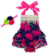 D.LIN Baby Girl's Tassel Ruffles Romper Dresses With Headband