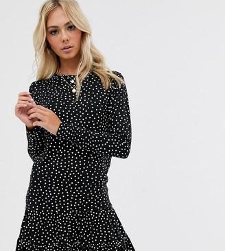 Wednesday's Girl long sleeve dress with peplum hem in spot print