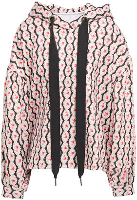 Marques Almeida Oversized Grosgrain-trimmed Melange French Cotton-terry Hoodie
