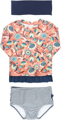 RuffleButts Paisley Paradise Two-Piece Rashguard Swimsuit & Head Wrap Set