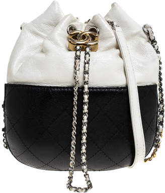Chanel Black/White Quilted Leather Small Gabrielle Bucket Bag