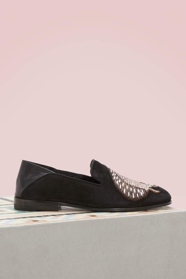 Alexander McQueen Embellished leather loafers