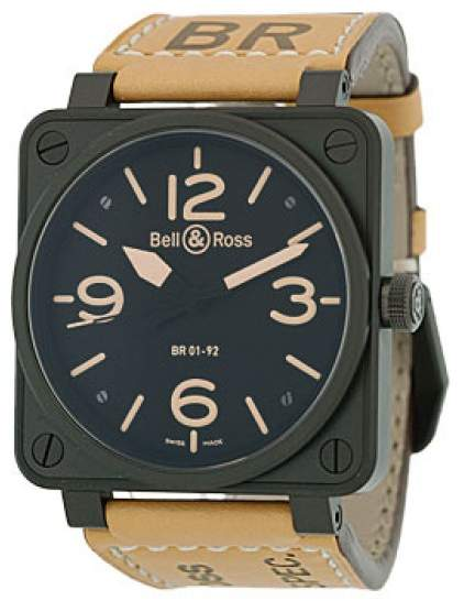 "Bell & Ross BR 01-92 Heritage"" Black Carbon Finish Stainless Steel Mens Strap Watch"