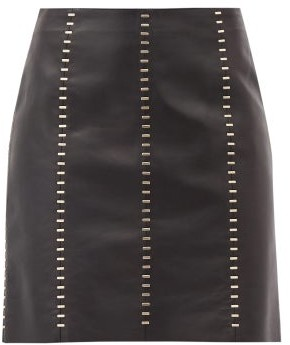 Alexander McQueen Staple-stitched Leather Mini Dress - Black