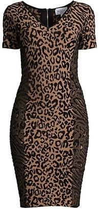 Milly V-Neck Leopard-Print Knit Dress