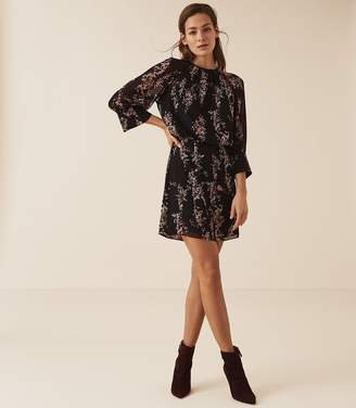 Reiss ROMA FLORAL PRINTED MINI DRESS Black Floral