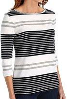 Three Dots Women's Soho Stripe 3/4 Sleeve Boatneck Tee