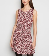 New Look Burgundy Floral ShirWaist Sleeveless Dress