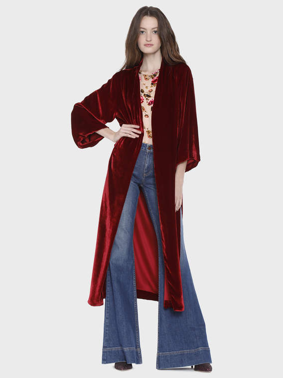 Alice + Olivia Lynn Side Slit Long Kimono