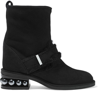 Nicholas Kirkwood Casati Shearling-trimmed Embellished Suede Ankle Boots