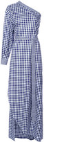 Rosetta Getty checked one shoulder dress - women - Cotton - 10