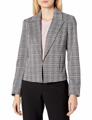 Nine West Women's Plaid Jacket with Notch Collar