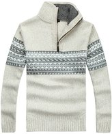 FRANK VILLALOBOS Men's Zip Knitted Casual Neck Zip up Sweater Ugly Christmas Sweater