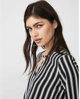 Express petite keyhole tie front blouse