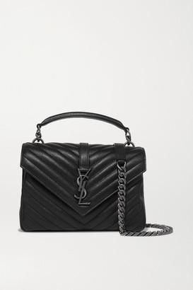 Saint Laurent College Medium Quilted Textured-leather Shoulder Bag - Black