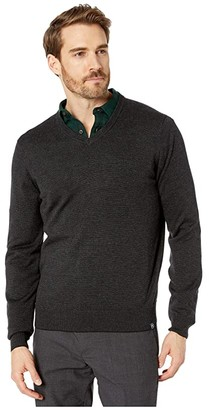 Perry Ellis End-On-End Feeder Stripe Long Sleeve Sweater (Black) Men's Clothing