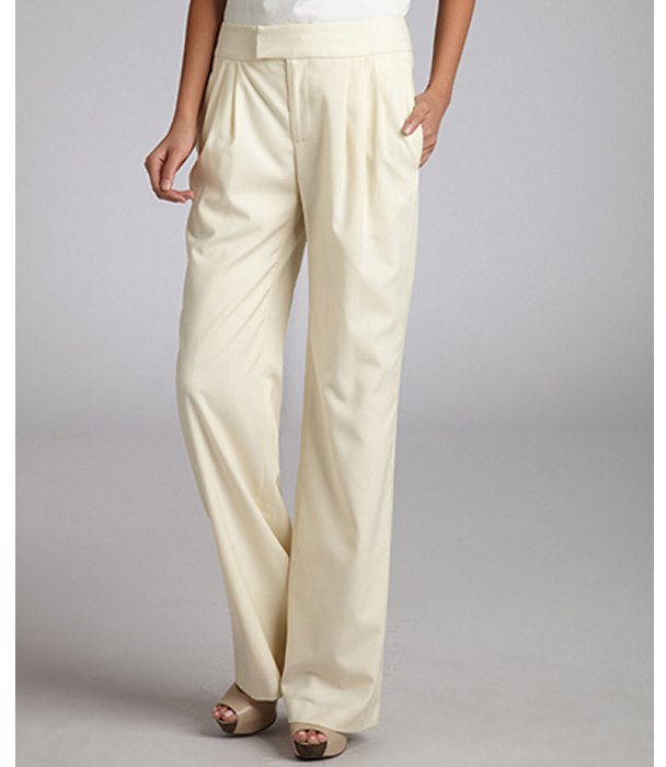 Adam ivory wool-cashmere blend wide leg pleated pant