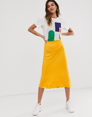 Asos satin bias cut skirt