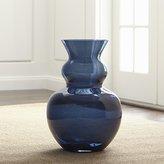 Crate & Barrel Nona Blue Glass Floor Vase