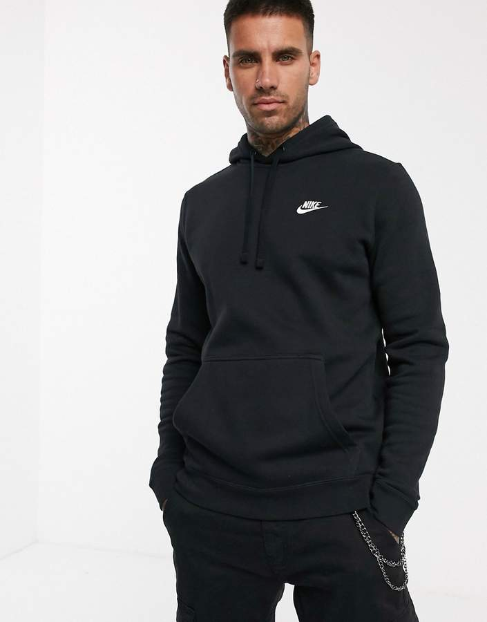 low priced 0046f 83165 pullover hoodie with Swoosh logo in black
