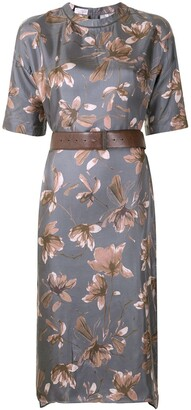 Brunello Cucinelli Floral-Print Silk Midi Dress