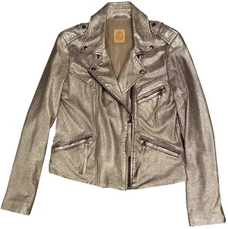 Ash Silver Leather Leather Jacket for Women