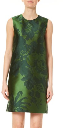 Carolina Herrera Sleeveless Floral Jacquard Shift Dress