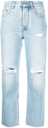 MSGM Distressed Cropped Jeans