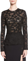 J. Mendel Long-Sleeve Spotted Lace Top, Black