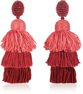 Oscar de la Renta Long Silk Tiered Tassel Earrings