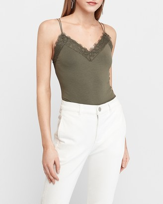 Express Lace Trim Strappy Back Tank