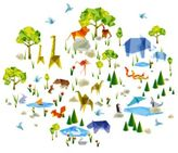 Wall Candy Arts Origami Zoo Wall Decals