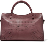 Balenciaga Blackout City Small Perforated Leather Tote - Burgundy