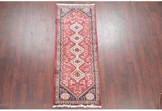 "Schick Bloomsbury Market One-of-a-Kind Geometric Tribal Persian Hand-Knotted 2'6"" x 6'3"" Wool Red Area Rug Bloomsbury Market"