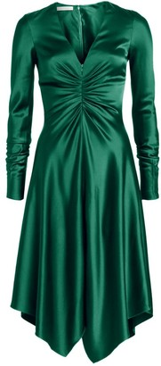 Jonathan Simkhai Satin Handkerchief-Hem Dress