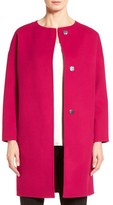Elie Tahari Tahari 'Sammy' Collarless Wool Blend Coat