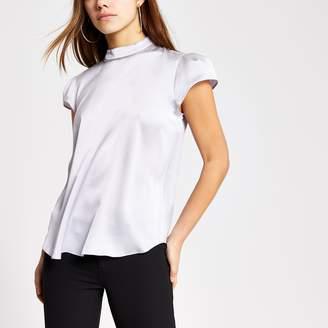 River Island Womens Petite Silver diamante short sleeve blouse