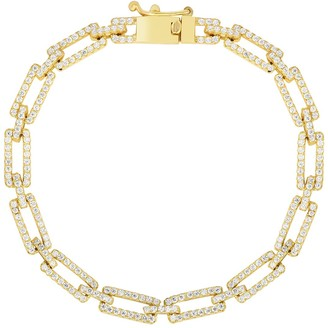Sphera Milano 14K Yellow Gold Plated Sterling Silver Pave CZ Link Bracelet