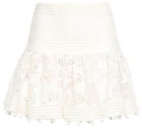 Zimmermann Embroidered Organza-paneled Guipure Lace Mini Skirt
