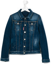 DSQUARED2 distressed denim jacket - kids - Cotton/Spandex/Elastane - 14 yrs