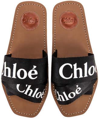 Chloé Logo Slides in Black | FWRD