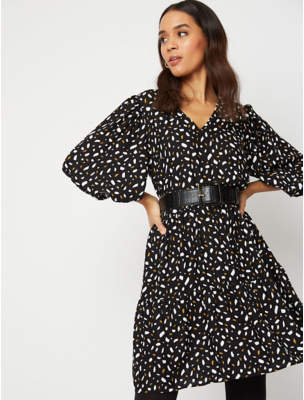 George Black Abstract Print Dress