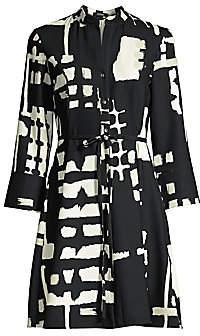 Natori Women's Block-Print Tie-Waist Shirt Dress