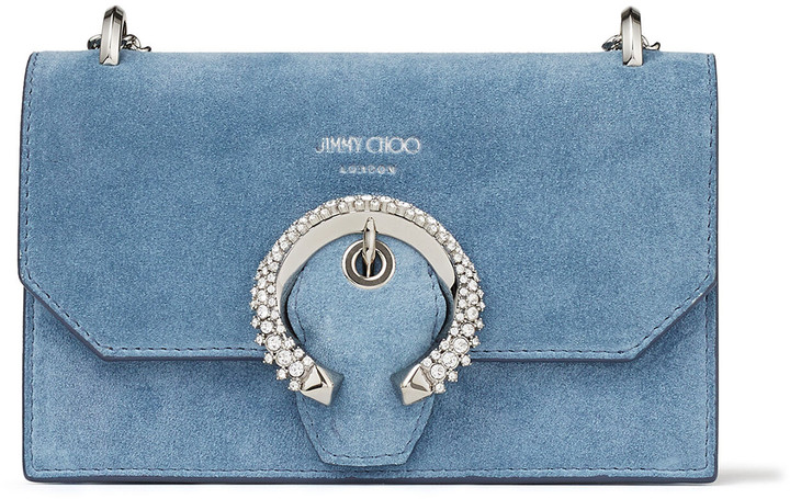 Jimmy Choo PARIS Sky-Blue Suede Mini Bag with Crystal Buckle