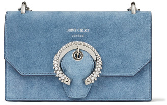 Jimmy Choo PARIS Sky-Blue Suede Mini Bag with Crystal Buckle
