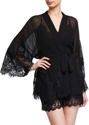 Gold Hawk Coco Lace-Trim Silk Kimono