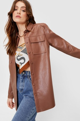 Nasty Gal Womens Faux Leather Oversized Button Down Shirt Jacket - Chocolate