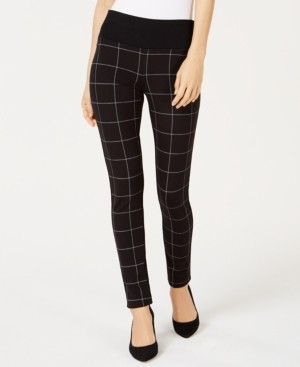 INC International Concepts Inc Petite Plaid-Front Leggings, Created for Macy's